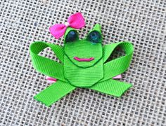 Frog Ribbon Sculpture Hair Clip by BelleandRoseBows on Etsy, $3.50
