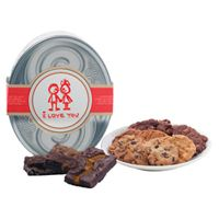 Silver Oval Gift Tin - I Love You 1 - Cookie and Brownie Options $42.00