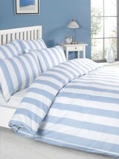 Bettwaesche-Bettbezug-Set-Blau-weiss-Gestreiften-100-Baumwolle-200-x-200-cm