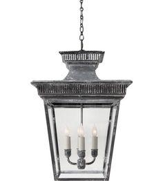 Visual Comfort E.F. Chapman 4 Light Ceiling Lantern in Weathered Zinc CHC5050WZ