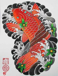 japanese tattoos and meanings Japanese Koi Fish Tattoo, Koi Fish Drawing, Japanese Tattoo Symbols, Japanese Dragon Tattoos, Japanese Tattoos For Men, Japanese Tattoo Designs, Fish Drawings, Japanese Sleeve Tattoos, Pez Koi Tattoo