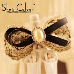 SHES COLOUR 正品韩国钻饰珍珠蝴蝶结发饰发卡边夹头饰品发夹