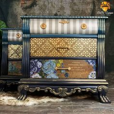 Vintage Bedroom Furniture, Bedroom Vintage, Painted Furniture, Art Nouveau, Furniture Makeover, Furniture Refinishing, Furniture Ideas, Refinished Furniture, Repurposed Furniture