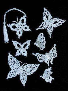 Capture the enchanting and elegant butterfly using size 10 thread and this crochet pattern.   Whether you choose to hang them as ornaments on a tree or in a window, add a tassel for a bookmark, tack to a bobby pin or hairclip, pin to a headband, choker, lapel or most anything; you will find these beautiful butterflies truly enchanting. Crochet with size 10 thread.