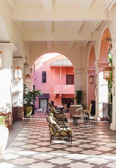 With its grand archways, striking lanterns, and eye-grabbing tilework, the hotel was meant to conjure up some faraway Moorish palace.