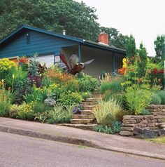 Sloped Front Yard, Hot Colors Minor Miracles: Jewel Box Mosaic Gardens Eugene, OR