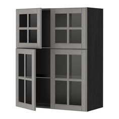 IKEA - METOD, Sza śc pół/4 szkl drz, Bodbyn szary, imitacja drewna czarny, , Rozstaw możesz dostosować do własnych potrzeb, bo półka jest regulowana.Solidna konstrukcja obudowy; grubość 18 mmZawiasy z zatrzaskami umożliwiają montaż drzwi bez śrub, a także ułatwiają zdejmowanie drzwi do czyszczenia.
