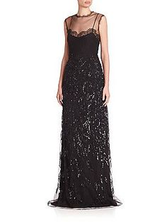 Alberta Ferretti Sleeveless Illusion Neck Gown - Black