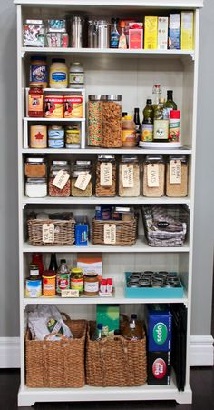 Bookshelf pantry! I love this idea to maximize space in our kitchen! Have to find space for my Costco trips lol
