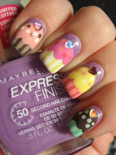 cupcake nails for cupcake party manicures Nail Art Cupcake, Cupcake Party, Birthday Cupcakes, Love Nails, How To Do Nails, Fun Nails, Pretty Nails, Nail Art Designs, Nail Design
