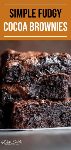 Simple Fudgy Cocoa Brownies. We are back with another easy fudgy dessert you won't be able to get enough of! These are the Best Fudgy Cocoa Brownies with crackly tops. So simple but SO delicious, they are gone in seconds! Serve these after dinner or ave them for a special occasion like Easter! #brownies #dessert #fudge #chocolate Cocoa Brownies, Best Brownies, Fudge, Brownie Recipes, Dessert Recipes, Desserts, No Bake Treats, Yummy Treats, Chocolate Crack