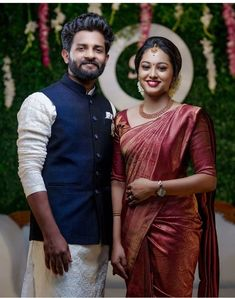 Indian Engagement Outfit, Engagement Dress For Groom, Kerala Engagement Dress, Engagement Saree, Couple Wedding Dress, Engagement Dresses, Engagement Stories, Engagement Couple, Bridal Sarees South Indian