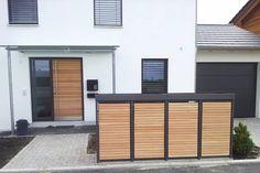 4er Mülltonnenbox Holz Lärche Alu Pflanzdach