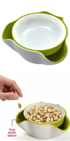 Double Dish Set - Top Bowl holds the nuts & the bottom holds the discarded shells.When you're done lift & throw it away! #genius #gadgets #kitchen