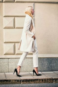winter white with a classic black heel