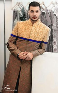 by sgar tenali Indian Groom Wear, Indian Suits, Sherwani, Indian Men Fashion, Mens Fashion, Oriental Fashion, Oriental Style, Mens Ethnic Wear, Kurta Patterns