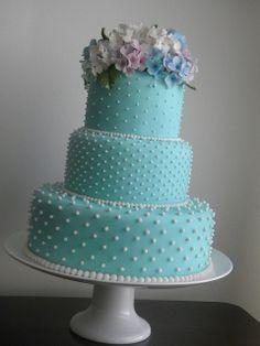 blue swiss dot cake
