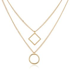 Yoins Golden Plated Double-chain Diamond & Circular Pendant Necklace ($8.21) ❤ liked on Polyvore featuring jewelry, necklaces, golden necklace, golden jewellery, double chain necklace, choker jewelry and golden jewelry