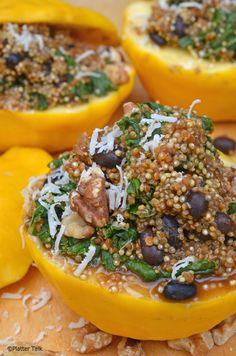 Quinoa and Kale Stuffed Starburst Squash Egg Free Recipes, Veggie Recipes, Whole Food Recipes, Cooking Recipes, Veggie Meals, Healthy Recipes, Vegetarian Main Dishes, Veggie Dishes, Good Foods To Eat