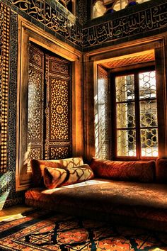 Interior of Harem section in Topkapı Palace, Istanbul. Moroccan Design, Moroccan Decor, Moroccan Style, Moroccan Bedroom, Moroccan Pattern, Moroccan Lounge, Indian Interior Design, Turkish Style, Turkish Design