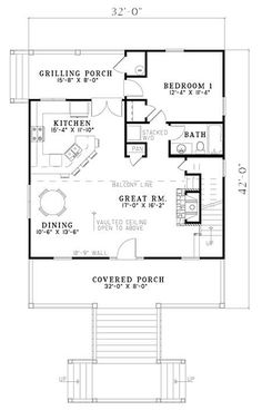 Cabin Style House Plan - 2 Beds 2 Baths 1400 Sq/Ft Plan #17-2356 Floor Plan - Main Floor Plan - Houseplans.com