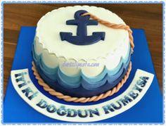 Deniz ve çıpa konseptli pasta