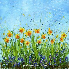 You can create this beautiful Daffodil Splattered Paint Flower Art using the easy 4 step daffodil doodles tutorial from myflowerjournal Simple Acrylic Paintings, Easy Paintings, Watercolor Paintings, Watercolors, Wreath Watercolor, Easy Watercolor, Watercolor Flowers, Abstract Flowers, Splatter Art