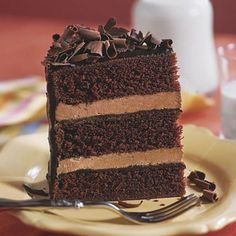 Chocolate Cake IV This impressive chocolate cake recipe features three layers of tender chocolate cake and two layers of creamy mocha-chocolate filling covered in a rich chocolate-coffee ganache. The fourth element of chocolate is the garnish of chocolate curls that are sprinkled on top of the cake.