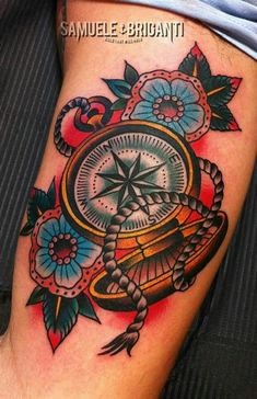Flower With Compass Sleeve Tattoos For Girls Flower Sleeve Tattoos For . Sanduhr Tattoo Old School, Old School Ink, Old School Tattoo Designs, Traditional Compass Tattoo, Neo Traditional Tattoo, American Traditional, Tattoo Henna, Arm Tattoo, Neue Tattoos
