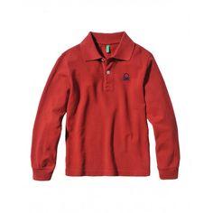 Polo manica lunga, finitura bordo maniche in costina, in cotone con logo ricamato in alto a sinistra.3089C3302 RED