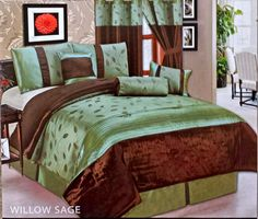 7 piece Luxury Comforter Set Green & Brown Made of Polyester Jacquard   #LAHomeFashionLuxuryCollection #Contemporary