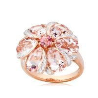 4.80ct Morganite & Diamond Accent Flower Ring 9ct Rose Gold