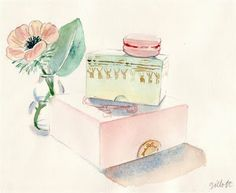 Watercolor by Carol Gillott.....some of her work ended up in Vogue magazine.