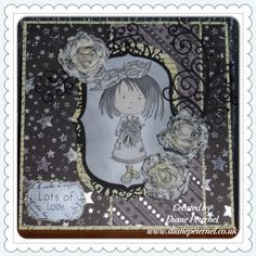Tatty Twinkle stamped card made with die cuts with a view card stock, promarkers, tattered lace flourish die and dreamees script stamp