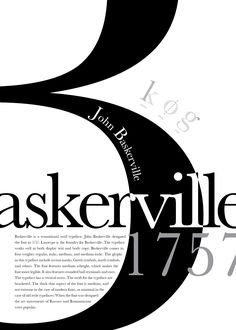 Images For > Baskerville Poster Graphisches Design, Typo Design, Graphic Design Typography, Game Design, Typo Poster, Poster Fonts, Typographic Poster, Typographic Hierarchy, Cool Typography