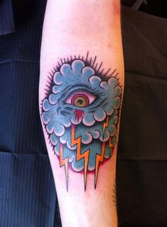 Awesome Traditional Tattoo by Alex here at Tattoo and Co in Brighton. #tattoo #artist #lightning #eye #cloud #traditional #brighton