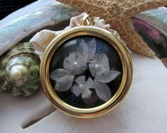 Vintage Shadowbox Fish Scale 3D Flower Pendant 11.98g - pinned by pin4etsy.com