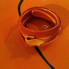 #Ribbon #bracelet #gaetanopesce #fishdesign #softjewelry #corsidesign #corsidesignfactory #orange