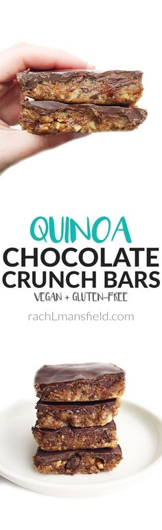 Vegan &amp amp gluten-free Quinoa Chocolate Crunch Bars made with clean and delicious ingredients with a crunch. Dark Chocolate coated top is absolutely delicious! Healthy Vegan Dessert, Low Carb Dessert, Vegan Treats, Vegan Desserts, Healthy Desserts, Vegan Recipes, Pasta Recipes, Dessert Recipes, Healthy Bars