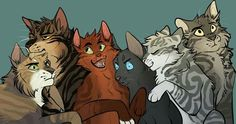 Tawnypelt, Brambleclaw, Squirrelpaw, Crowpaw, Feathertail, and Stormfur