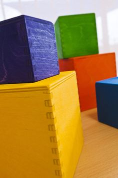 Beautiful wooden stacking boxes for open ended play.