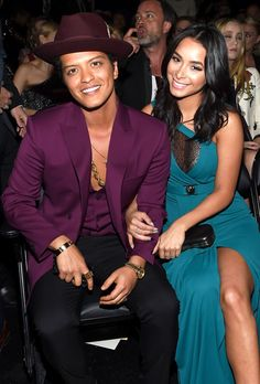 "Bruno Mars & Jessica Caban from Grammys 2016 Candid Moments  Singer and model are all smiles following ""Uptown Funk's"" Grammy win."