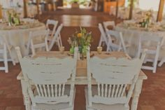 Weathered Rustic White Wooden Chairs - Bride and Groom Sweetheart Table
