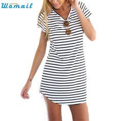 Summer Dress WOMAIL delicate Women Crew Neck Short Sleeve Striped Loose Mini Dress Sundress Plus Size Women Beach W7