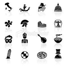 Black Symbols - Italy Royalty Free Stock Vector Art Illustration