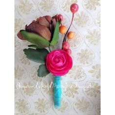 Colorful Boutonniere - Mixed Flower Boutonniere - Magnetic Boutonniere - Colorful Buttonhole - Mens Wedding Flower - pinned by pin4etsy.com