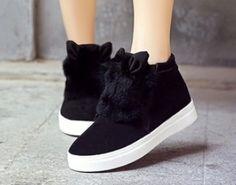 slipony Woman Platform With Fur Korean Style Ears women winter shoes Boots plush slip on For Student Snow Shoes Female Warm Bota Fur Boots, Shoe Boots, Fashion Boots, Sneakers Fashion, Korean Shoes, Kawaii Shoes, Star Shoes, Platform Boots, Winter Shoes
