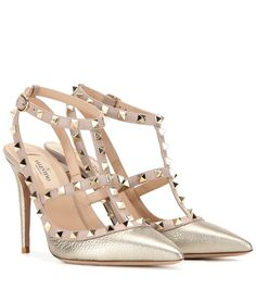 Valentino - Rockstud metallic leather pumps - Valentino's 'Rockstud' pumps are equal parts elegant and edgy. Coated in shiny, metallic leather with a contrasting blush leather trim, this studded pair will work for day and evening alike. seen @ www.mytheresa.com