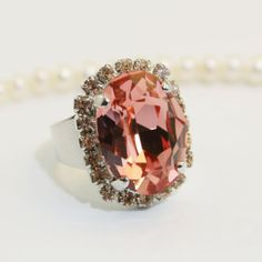 Coral Rose Peach Blush Adjustable Ring Oval Cocktail by TIMATIBO, $32.00