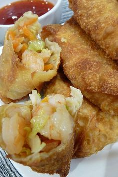 Shrimp Egg Rolls - These have basil, ginger, cilantro and scallions so lots of layers of flavors - Can use bagged asian slaw as a shortcut.